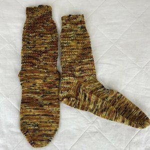 Handmade Womens Yellow Knitted Ankle Socks Sz 7-9